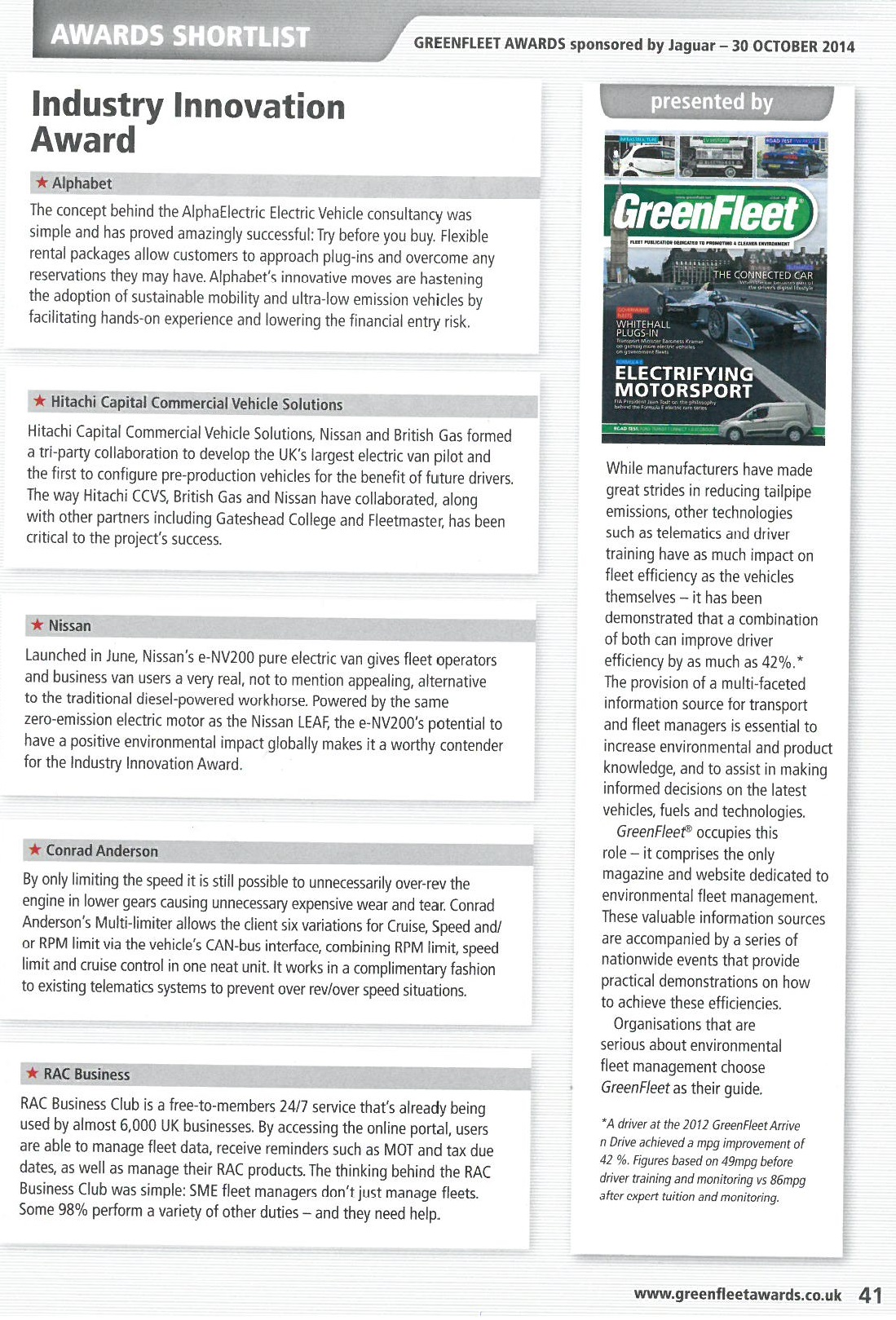Industry Innovation awards booklet page