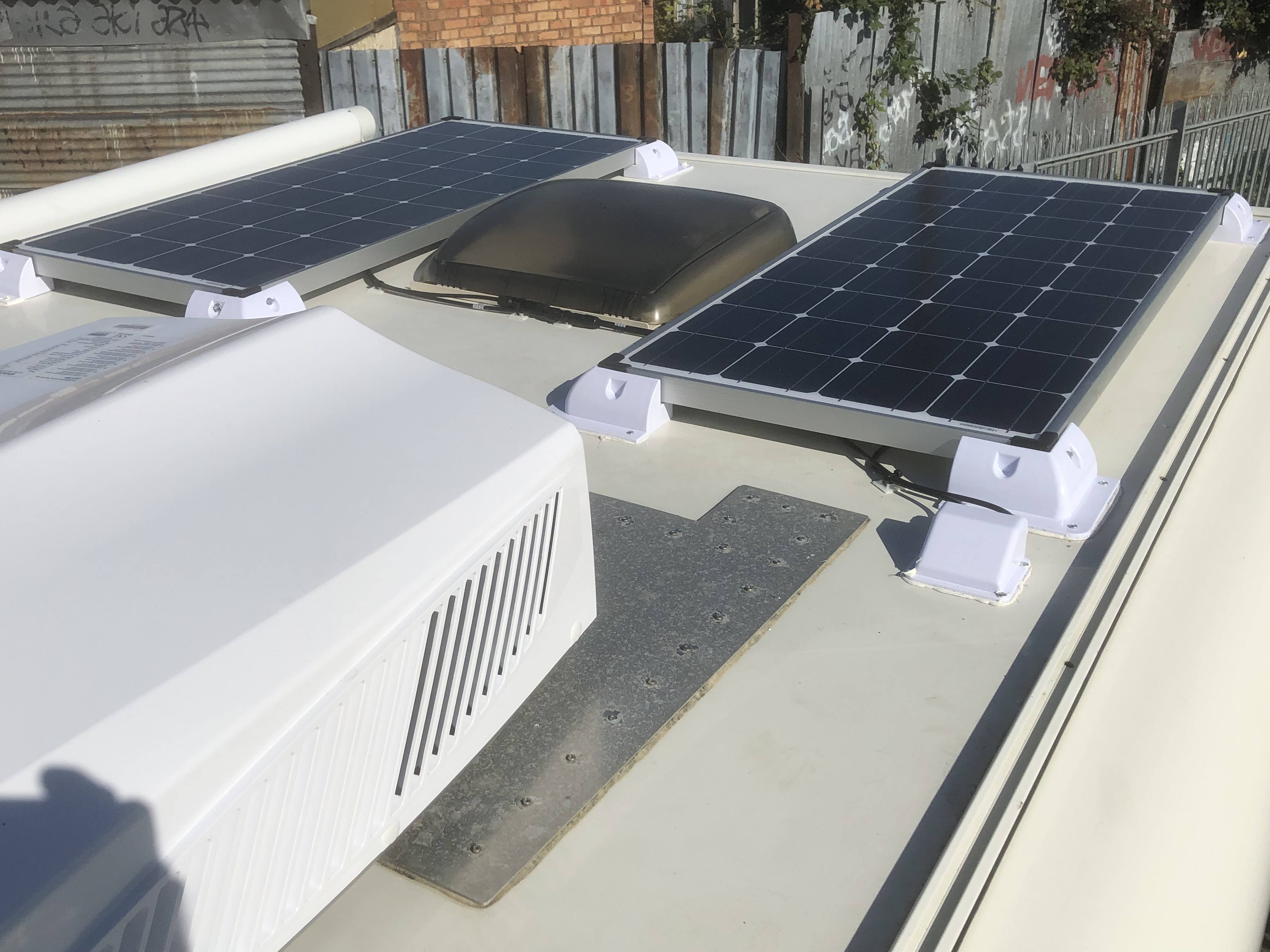 Roof view - Sinclair ASV-25AS Air Con and Solar Panels