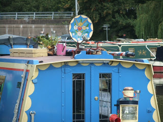 Narrowboat decorated Satellite dish